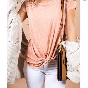 BP twist front tan cork short sleeve T shirt